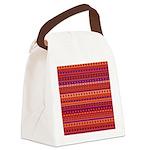 Purple and Orange Stripy Pattern Canvas Lunch Bag