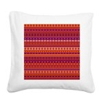 Purple and Orange Stripy Pattern Square Canvas Pil