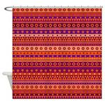Purple and Orange Stripy Pattern Shower Curtain