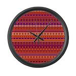 Purple and Orange Stripy Pattern Large Wall Clock