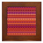 Purple and Orange Stripy Pattern Framed Tile