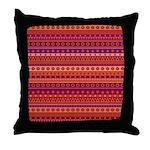 Purple and Orange Stripy Pattern Throw Pillow