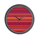 Purple and Orange Stripy Pattern Wall Clock