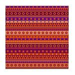 Purple and Orange Stripy Pattern Tile Coaster