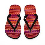Purple and Orange Stripy Pattern Flip Flops