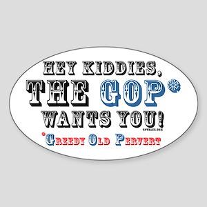 GOP=Greedy Old Pervert Oval Sticker