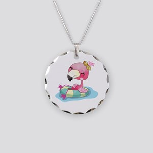 Flamingo Swimming Necklace Circle Charm