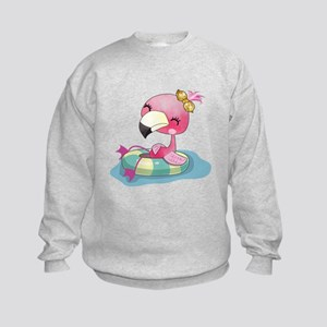 Flamingo Swimming Kids Sweatshirt