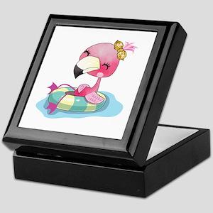 Flamingo Swimming Keepsake Box