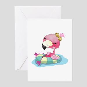 Flamingo Swimming Greeting Card