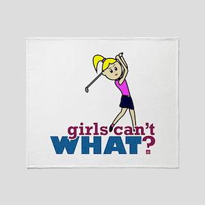 Girl Playing Golf Throw Blanket