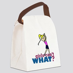Girl Playing Golf Canvas Lunch Bag