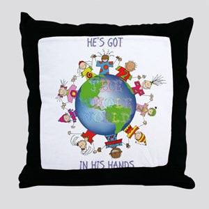 Hes Got the Whole World in His Hands Throw Pillow