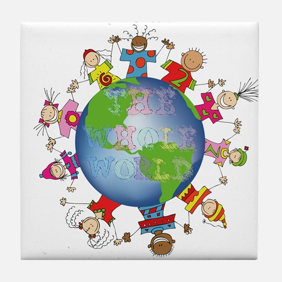 Hes Got the Whole World in His Hands Tile Coaster