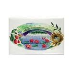 Pond and Bridge Watercolor Rectangle Magnet