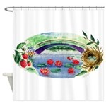 Pond and Bridge Watercolor Shower Curtain