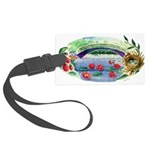 Pond and Bridge Watercolor Luggage Tag
