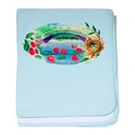 Pond and Bridge Watercolor baby blanket