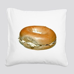 Bagel and Cream Cheese Square Canvas Pillow