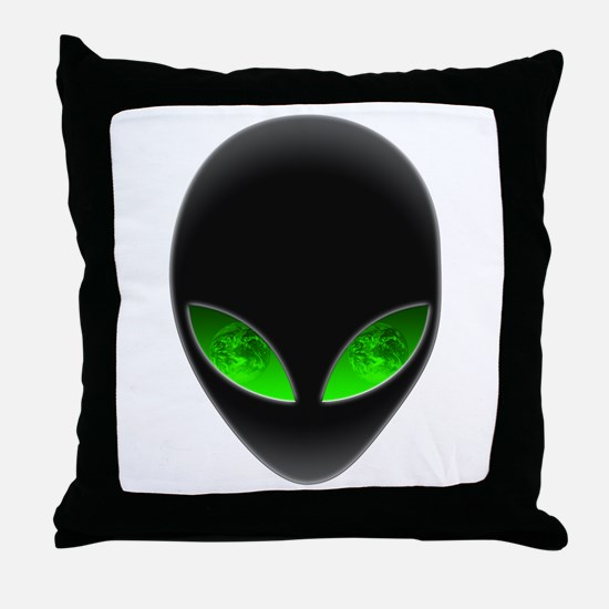 Cool Alien Earth Eye Reflection Throw Pillow
