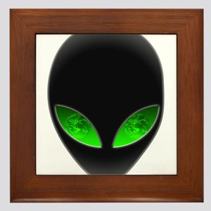 Cool Alien Earth Eye Reflection Framed Tile