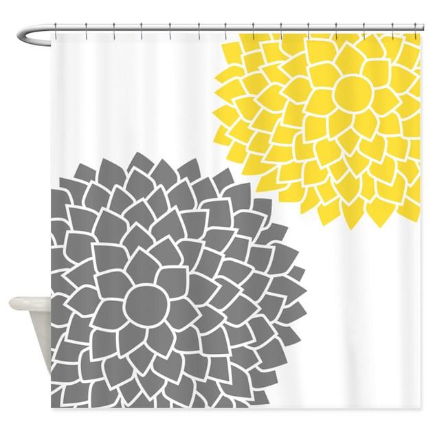 Zen Flowers Gray Yellow Shower Curtain By MarshEnterprises