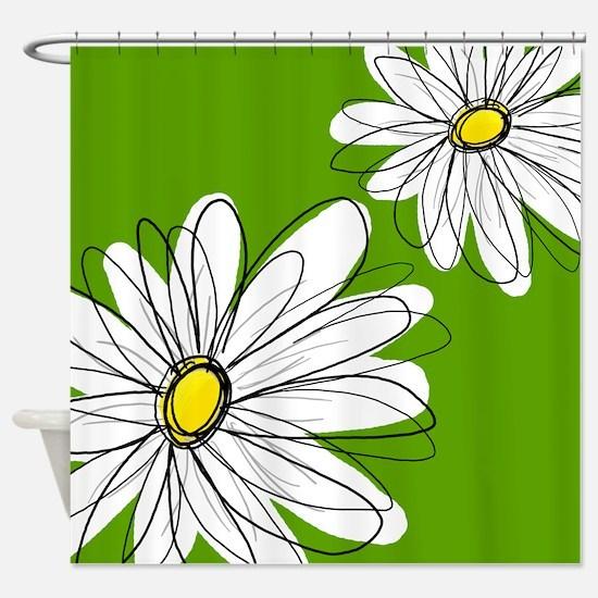 Trendy Daisies - gr... Shower Curtain