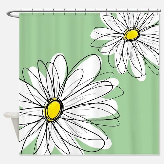 Modern Daisies - mint green Shower Curtain