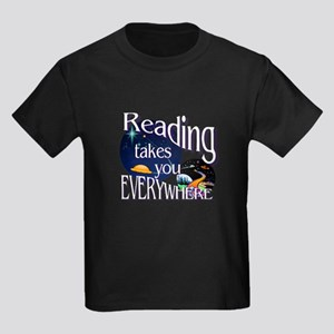 Reading Takes You Everywhere Kids Dark T-Shirt