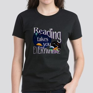 Reading Takes You Everywhere Women's Dark T-Shirt