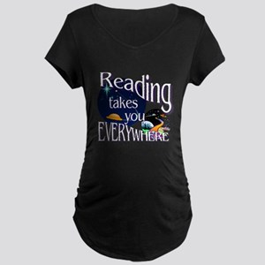 Reading Takes You Everywher Maternity Dark T-Shirt
