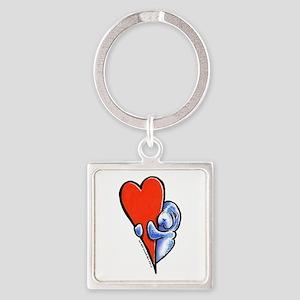 Love Manatees Square Keychain