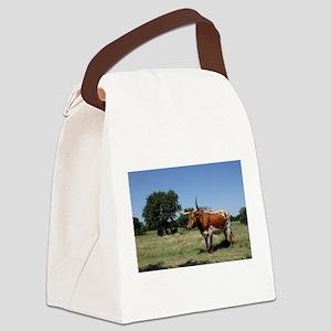Texas Longhorn Cow Canvas Lunch Bag
