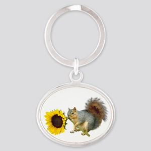 Squirrel Sunflower Oval Keychain