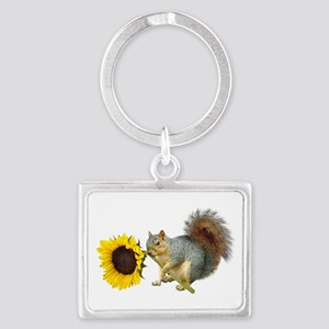 Squirrel Sunflower Landscape Keychain