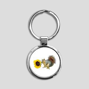 Squirrel Sunflower Round Keychain