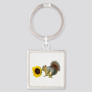 Squirrel Sunflower Square Keychain