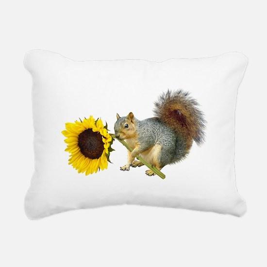 Squirrel Sunflower Rectangular Canvas Pillow