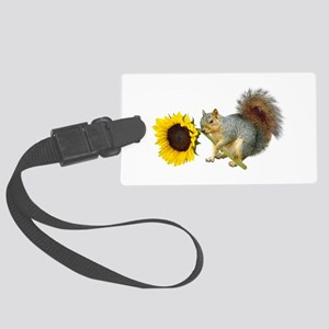 Squirrel Sunflower Large Luggage Tag