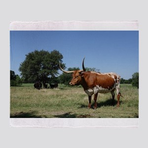 Texas Longhorn Cow Throw Blanket