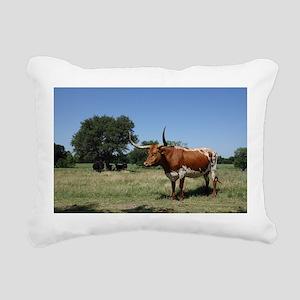 Texas Longhorn Cow Rectangular Canvas Pillow