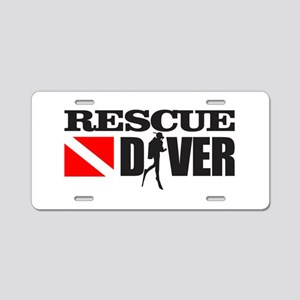 Rescue Diver 3 (blk) Aluminum License Plate