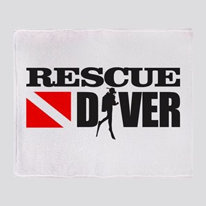 Rescue Diver 3 (blk) Throw Blanket