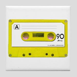 Yellow Cassette Tape Tile Coaster
