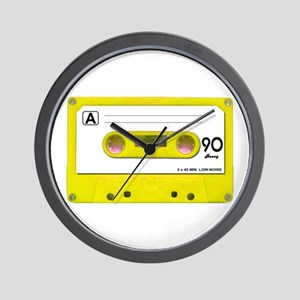 Yellow Cassette Tape Wall Clock