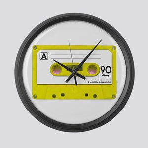 Yellow Cassette Tape Large Wall Clock