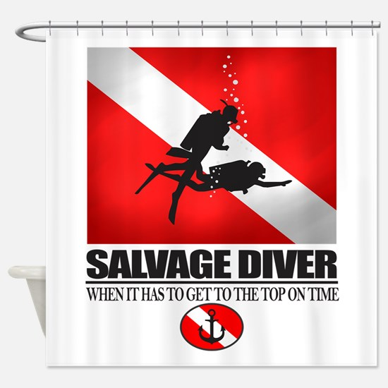 Salvage Diver 2 (back)(black) Shower Curtain