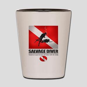Salvage Diver 2 (back)(black) Shot Glass