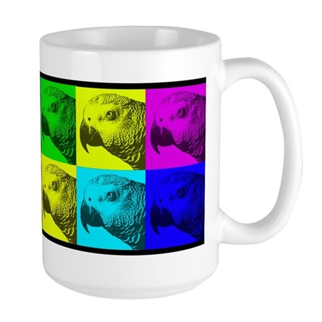 Multi Colored African Greys Large Mug