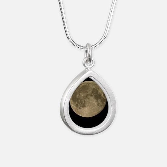 Waning gibbous Moon - Silver Teardrop Necklace